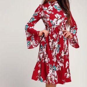 High-neck long-sleeve floral dress